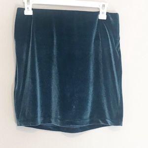 BGBGENERATION Velvet Teal Mini Skirt Size Medium
